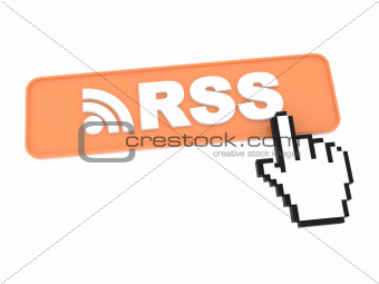Hand-Shaped Mouse Cursor Press RSS Button on White Background