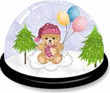Cute teddy bear snowdome