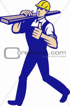 Carpenter Tradesman Carrying Timber Lumber
