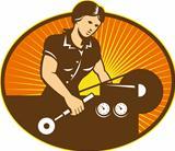 Female Machinist Worker Lathe Machine