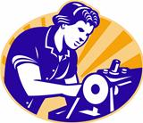 Female Machinist Seamstress Worker Sewing Machine