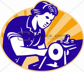 Female Machinist Seamstress Worker Sewing Machine
