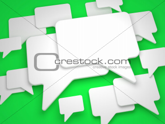 Blank Speech Bubble on Green Background