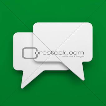 Blank Speech Bubble on Green Background