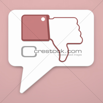 Thumb Down Sign on Speech Bubble for Blogs and Websites