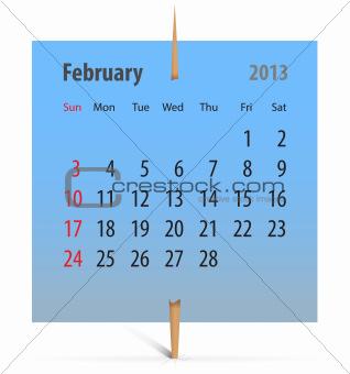 Calendar for February 2013