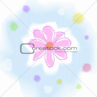 Watercolor dahlia flower