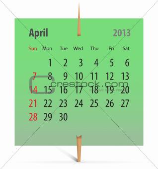 Calendar for April 2013