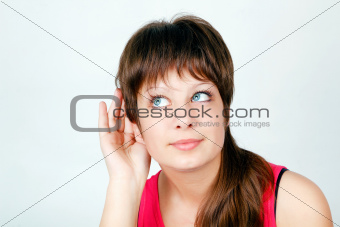 attractive girl listening
