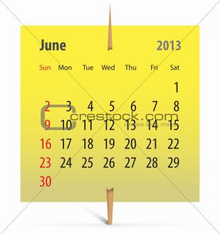 Calendar for June 2013