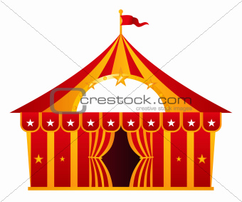Red circus tent isolated on white