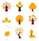 Autumn trees icons isolated on white ( orange )