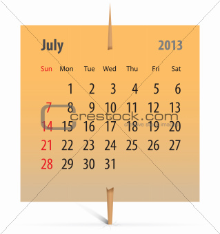Calendar for July 2013