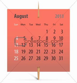 Calendar for August 2013