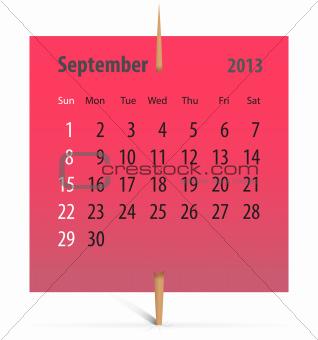 Calendar for September 2013
