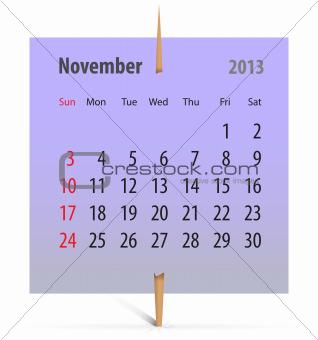 Calendar for November 2013