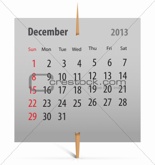 Calendar for December 2013
