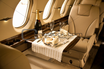 private airplane interior