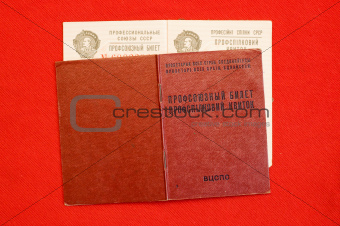 union card of USSR over red