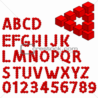 abstract optical illusion three dimension alphabet set.