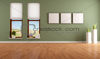 Green empty interior