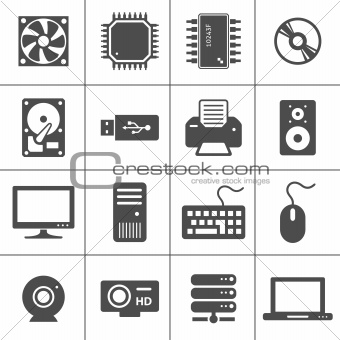 Computer Hardware Icons. PC Components. Each icon is a single object (compound path)