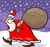 santa claus with sack cartoon illustration