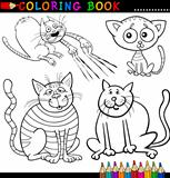 Cartoon Cats for Coloring Book or Page