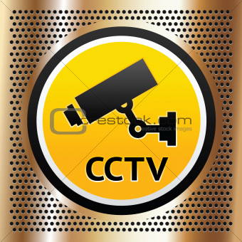 CCTV symbol on a golden vector background