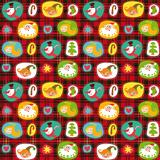 Christmas set, wrapping paper, plaid tartan pattern background.
