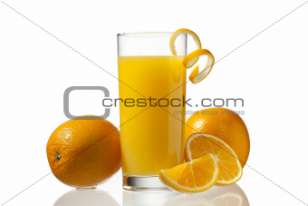 orange juice and peeling with orange fruits