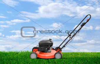 Lawn mower clipping green grass