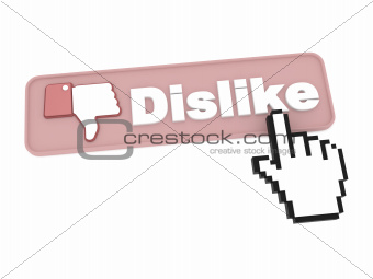 Dislike Button with Cursor - Social Media Concept