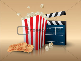 Popcorn and movie tickets with clapper board