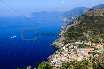 Beautiful View on Village of Riomaggiore and Cinque Terre, Italy