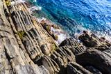 Cliffs and Mediterranean Sea in Cinque Terre, Italy