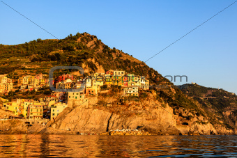 Sunset in the Village of Manarola in Cinque Terre, Italy