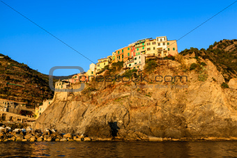 Village of Manarola on the Steep Cliff in Cinque Terre, Italy