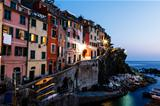 Village of Riomaggiore in Cinque Terre Illuminated at Night, Ita