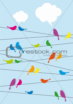 birds sitting on wire, vector background