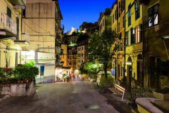 Illuminated Street of Riomaggiore in Cinque Terre at Night, Ital