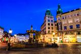 Fountain and Gamelltorv Square at the Evening in Copenhagen, Den
