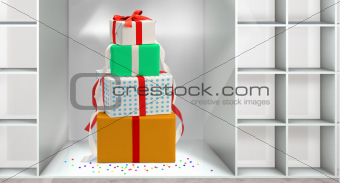 Christmas boxes in the shelf