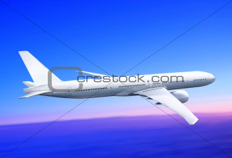 plane in the blue sky