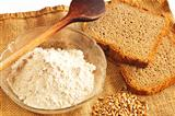 whole grain bread with flour