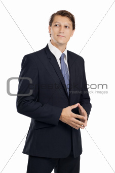 Handsome businessman thinking
