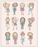 Cartoon girls. Fashion children. Set of cute girls