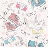 Cute grunge abstract pattern. Seamless pattern with shoes