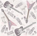 Cute grunge abstract pattern. Seamless pattern with guitars