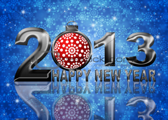 2013 Happy New Year Snowflakes Ornament Illustration